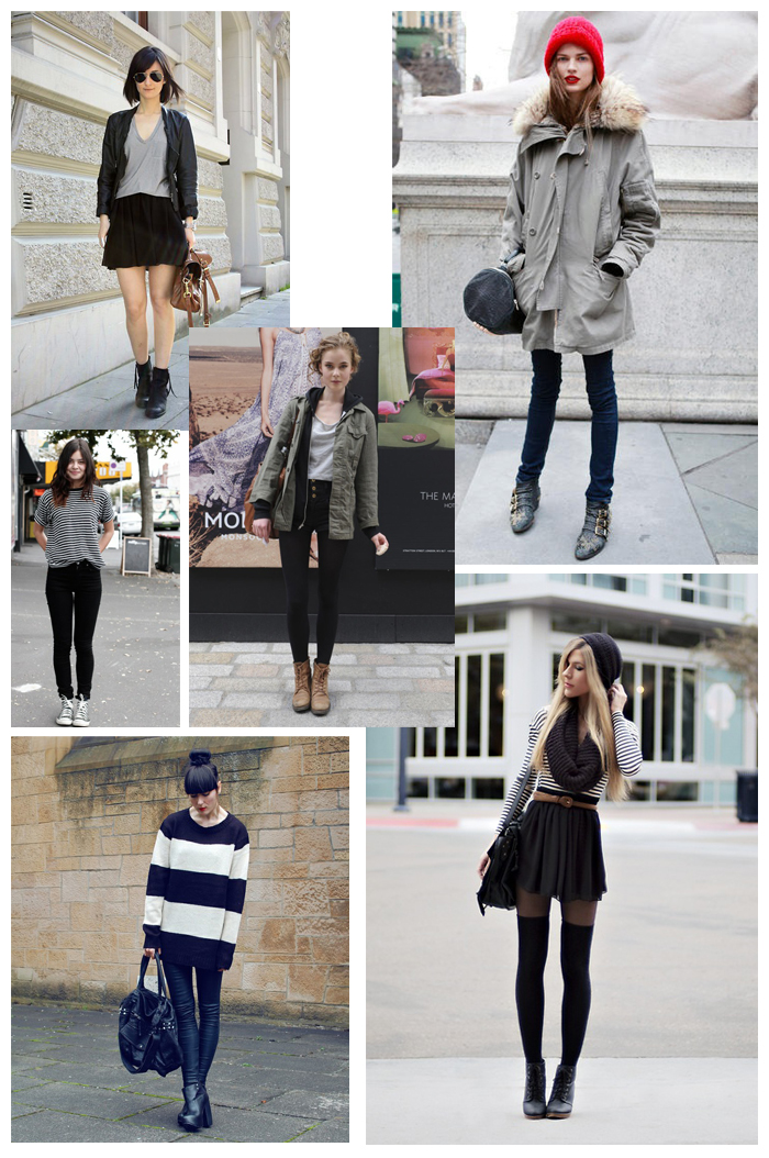 Collage of simple, minimalistic outfits
