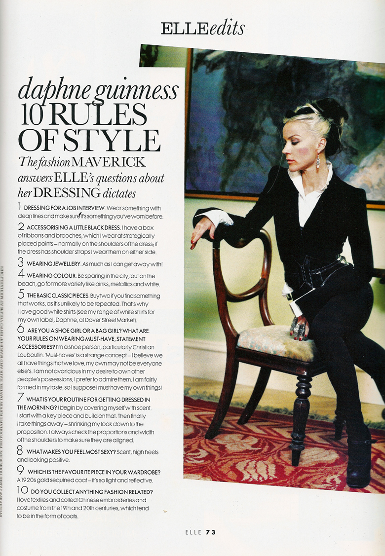 Daphne Guiness 10 Rules of Style