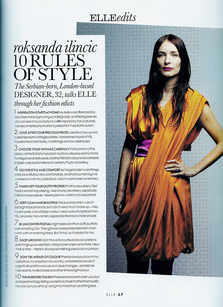 Roksana Ilincic 10 Rules of Style