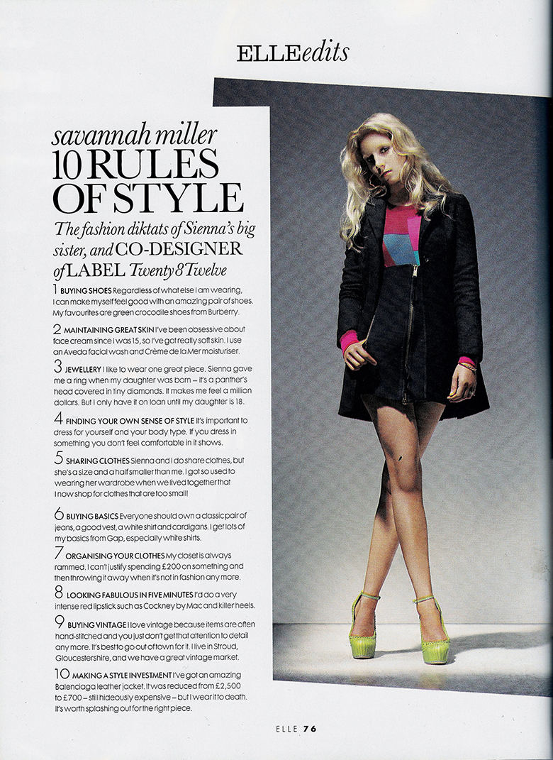 Savannah Miller 10 Rules of Style
