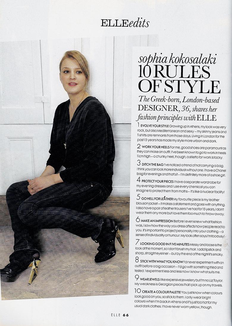 Sophia Kokosalaki 10 Rules of Style