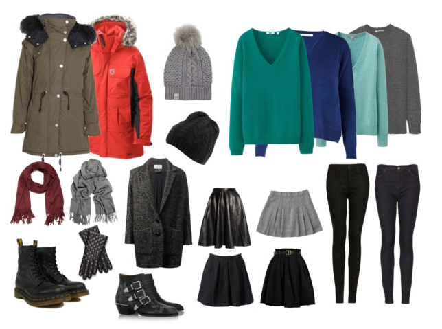 Collage of sensible winter clothing