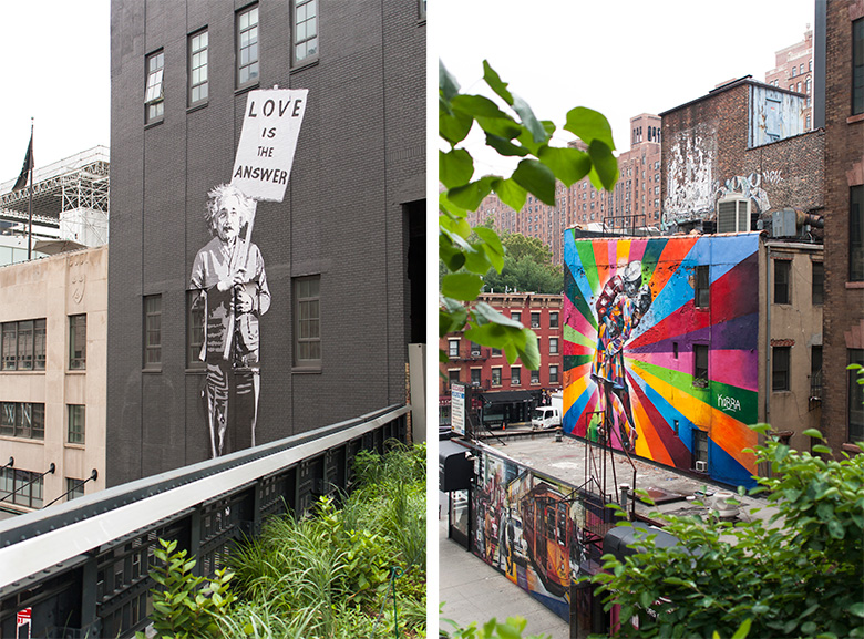 Two large pieces of graffiti seen from the high lines
