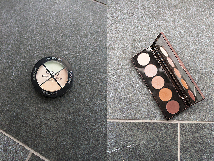 A corrector makeup palette and an eyeshadow palette