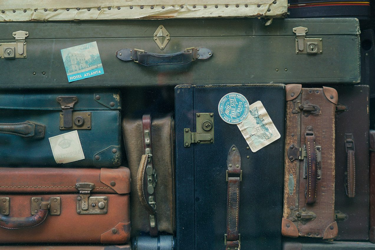Photo of a stack of old suitcases