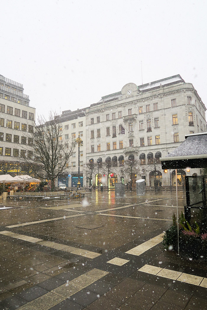 Snow in city square in Stockholm