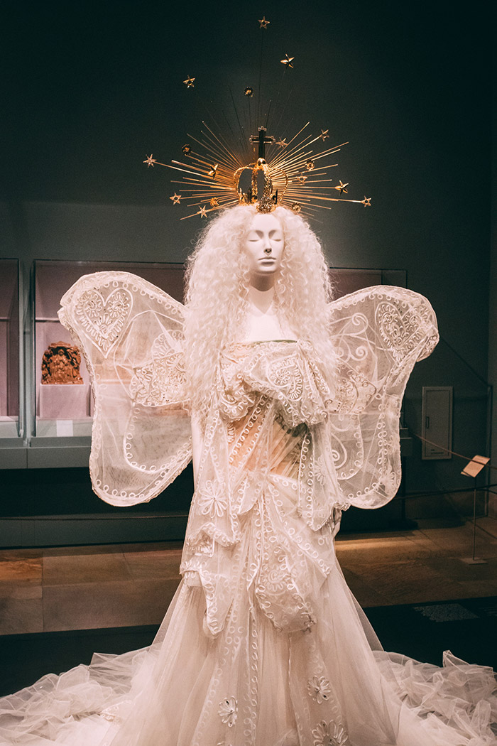 John Galliano wedding dress with crown from the Heavenly bodies exhibit at The Met