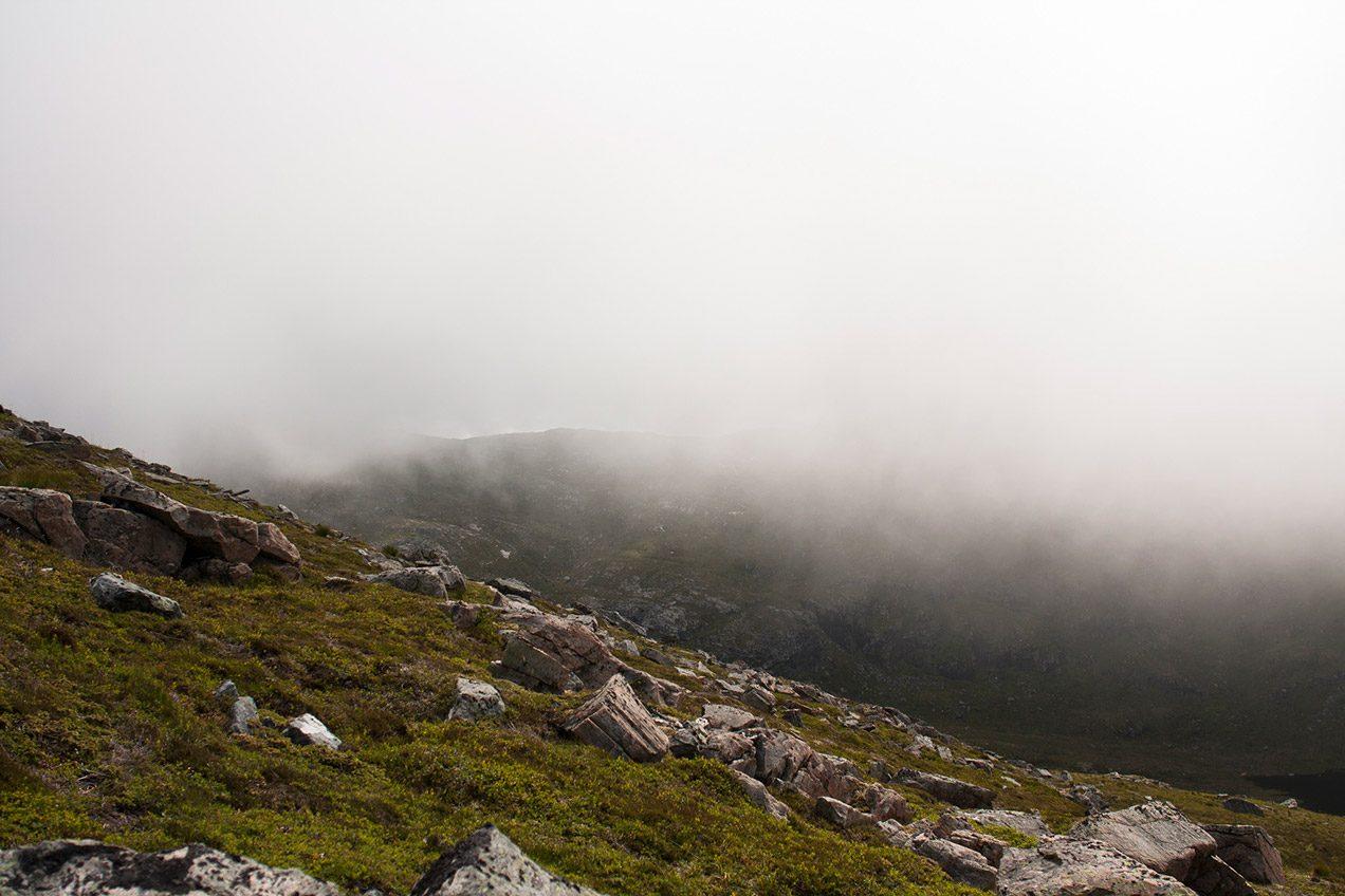 Misty Norwegian mountaintops